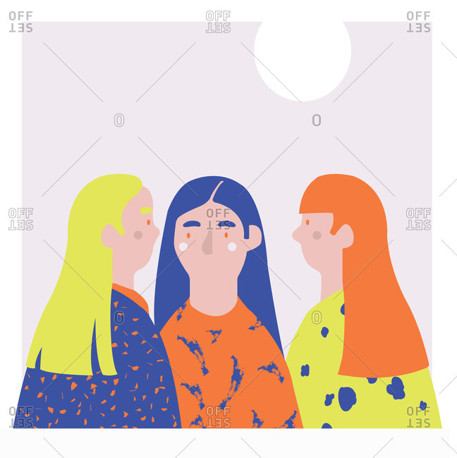 Three women with long hair standing together