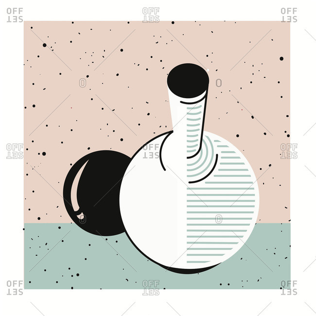 Round vase and black ball on speckled background