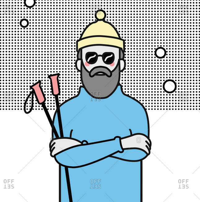 Bearded man with sunglasses and hat holding ski poles in snowy scene