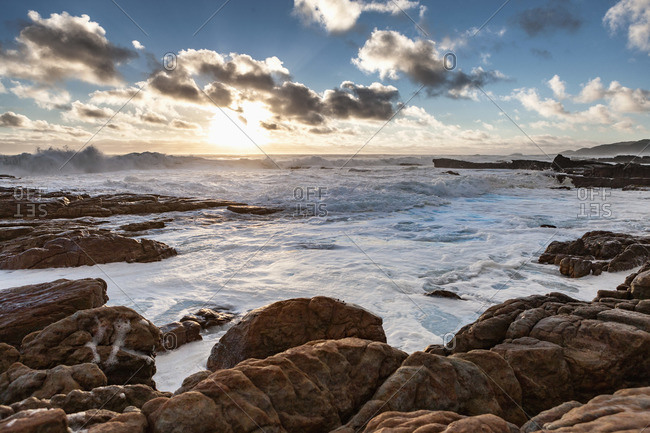A rocky coast at sunset