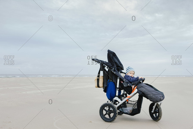 A baby in a stroller at the ocean