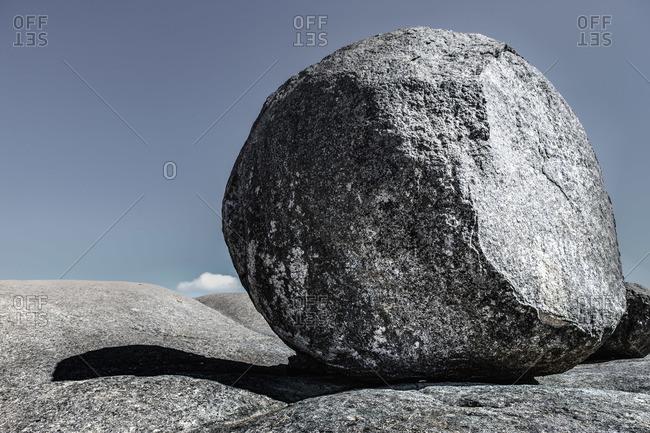 A large round boulder