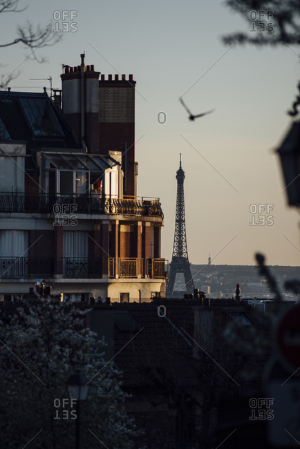 View of the Eiffel Tower beyond a Parisian residential building