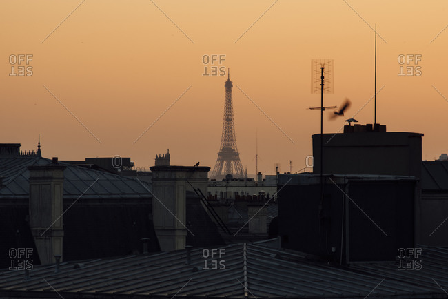 Eiffel Tower seen from a distance above Parisian rooftops