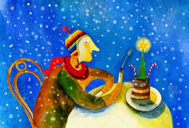 Man eating a Christmas tree cake