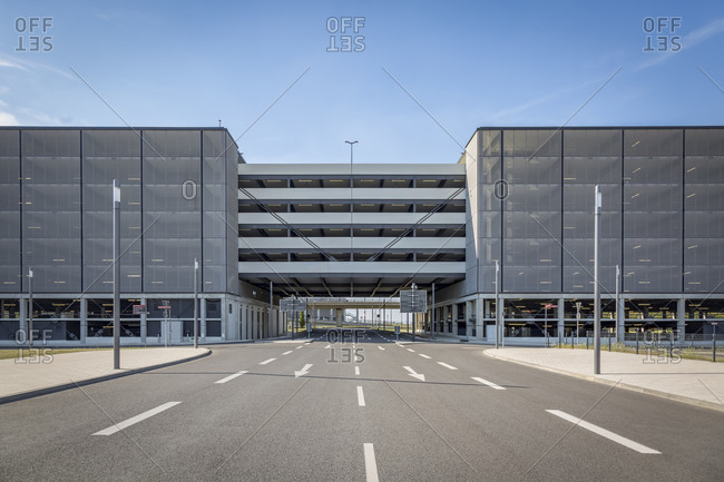 Car park and empty road, Berlin