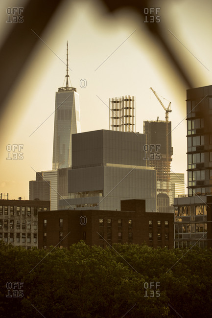 New York, NY, USA - August 26, 2015: One World Trade Center and high-rise buildings, New York City