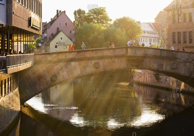 Nuremberg, Germany - August 27, 2015: Fleisch Bridge over Pegnitz River, Nuremberg