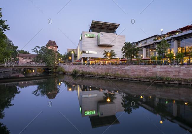 Nuremberg, Germany - August 27, 2015: Cinecitta cinema complex at Pegnitz River, Nuremberg