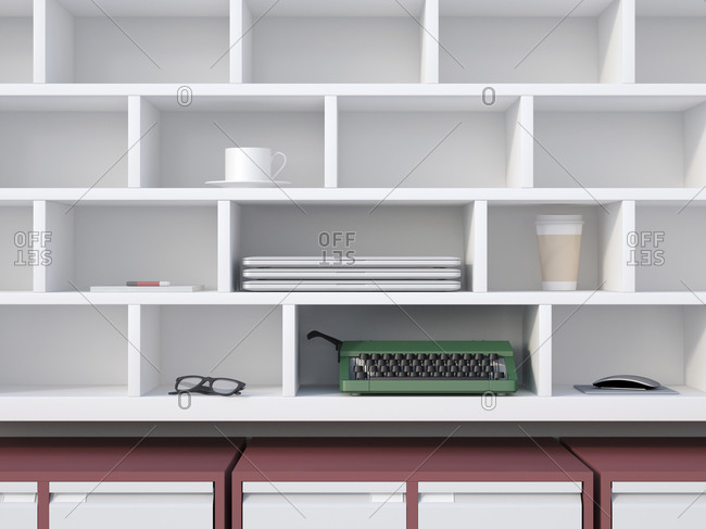 Office shelf with typewriter, laptops, coffee cup and other things, 3D Rendering