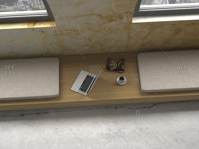 Laptop, magazines and cup of coffee on wooden bench under a window, 3D Rendering