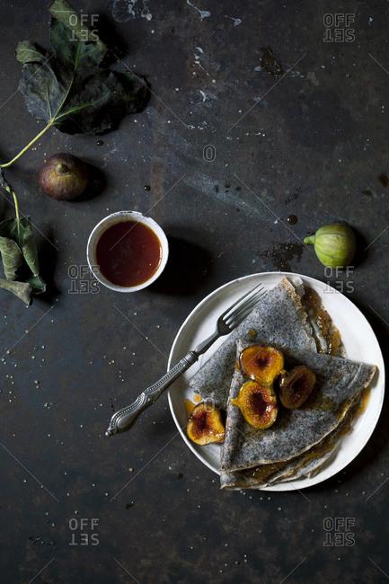 Breton buckwheat crepes with caramelized figs