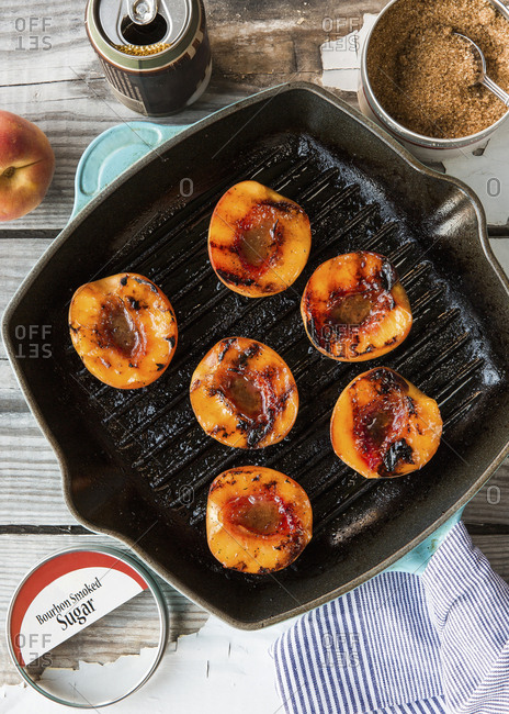 Cast Iron Grill pan with Bourbon sugar grilled peaches