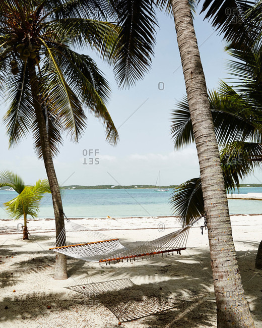 A hammock on the beach on Elbow Cay in the Abacos, the Bahamas