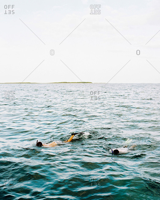 Two men snorkeling in the Abacos, Bahamas