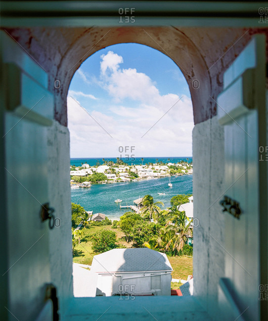 A view of Hope Town Harbor from other lighthouse on Elbow Cay in the Abacos, Bahamas