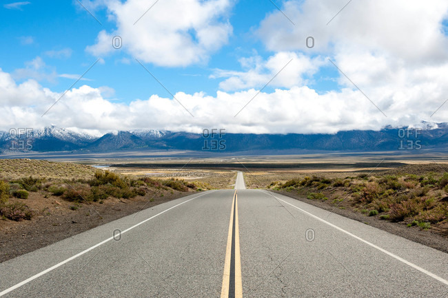 Low angle view of an empty road, East Sierra, California
