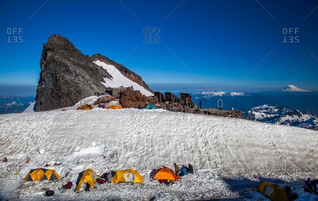 A group of tents at Camp Muir on Mount Rainier National Park, Washington, USA