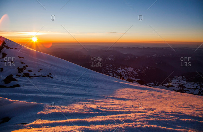 Sunrise as seen from Mount Rainier in Mount Rainier National Park, Washington, USA