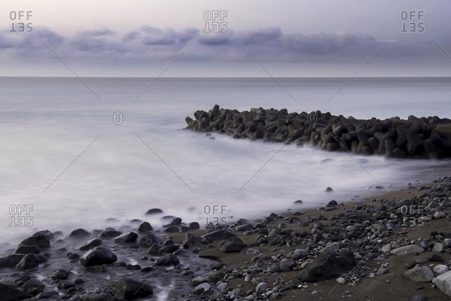 Wave breakers and sea, Japan