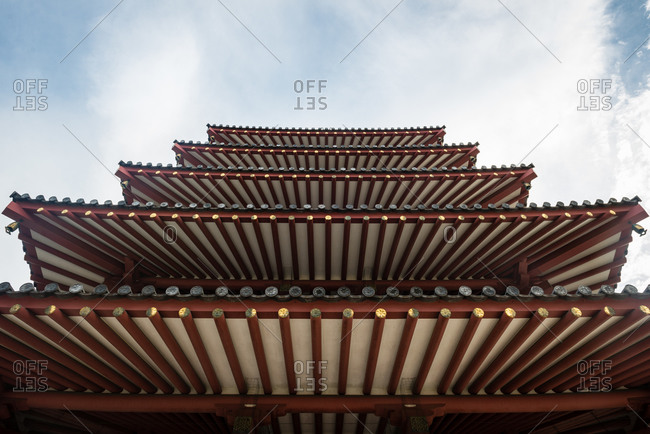 September 5, 2015: Upward view of traditional pagoda layered roofline architecture