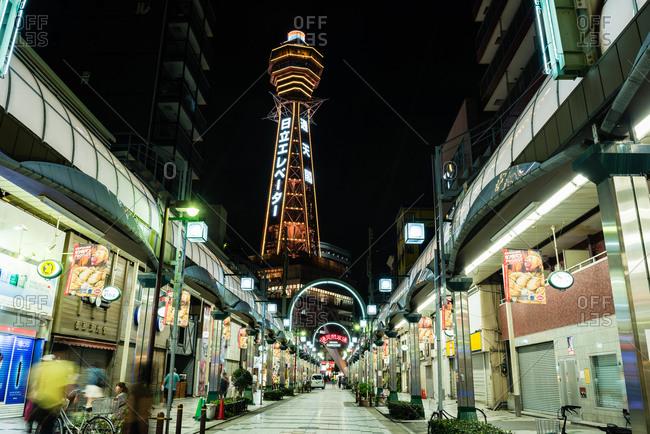 September 5, 2015: Osaka's brightly lit Shinsekai neighborhood at night