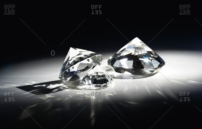 Close up of diamonds with reflections