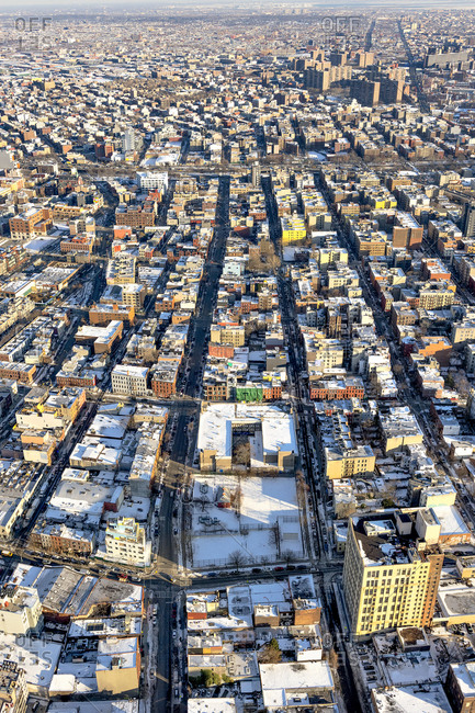 A sprawling cityscape in winter