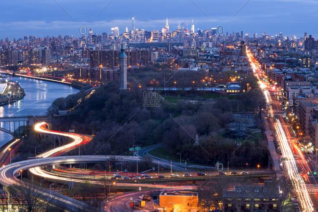 Vast sprawl of New York City at night