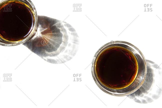 Full glasses of brown cola
