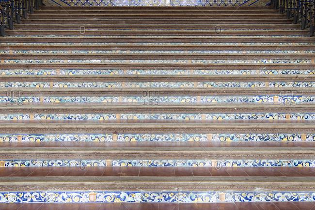 Staircase in Spanish Square, Plaza de Espana, in Seville, Spain