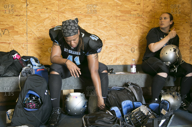 Brooklyn, New York, USA - April 19, 2014: Women getting ready for a professional football game