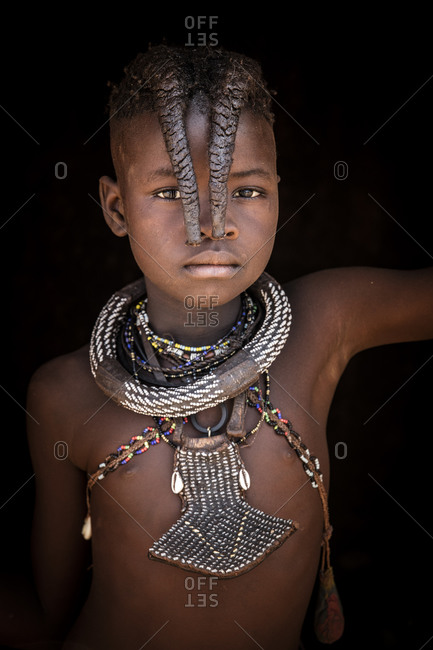 Portrait of Himba girl in Namibia