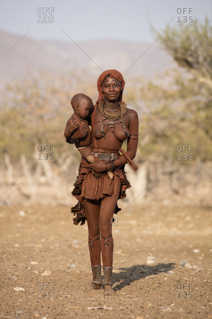 Young himba mother with baby