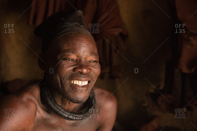 Namibian Himba man laughing
