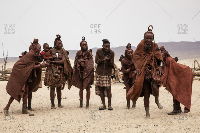 Himba people dancing together