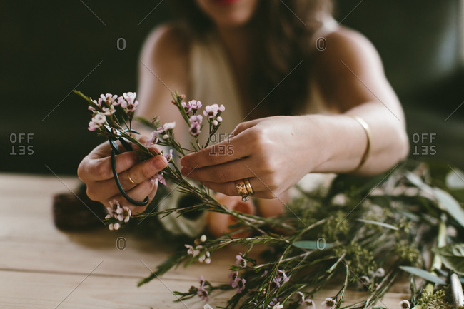 Woman making a floral crown