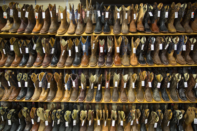 Shelves of cowboy boots for sale in Shelby, Montana