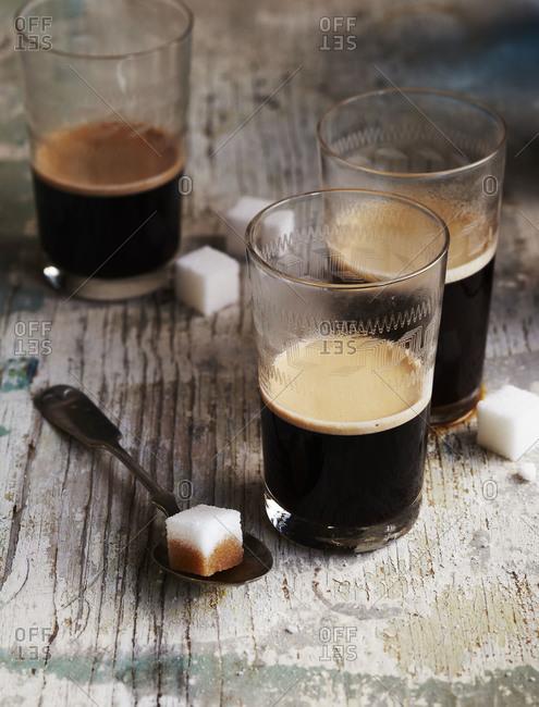 Glasses of espresso