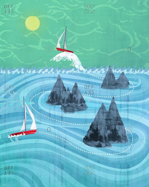 Two boats navigating around rocks