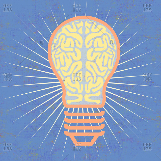 Light bulb with a brain and light rays