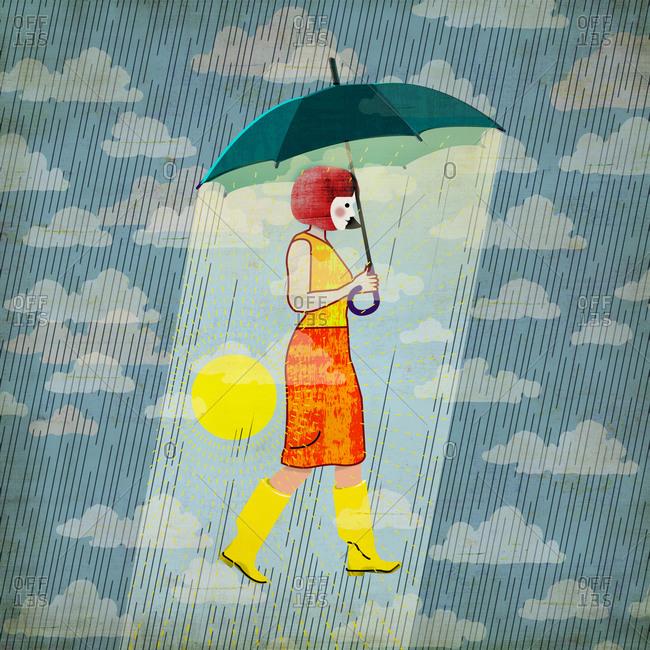 Optimistic woman with umbrella