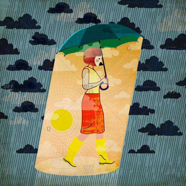 Optimistic woman with a sunny umbrella