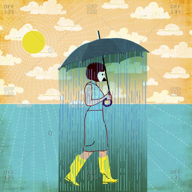 Woman with a raining umbrella