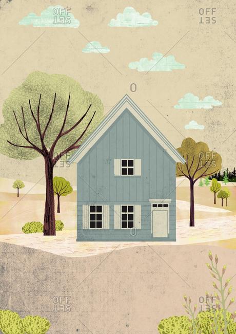 Scandinavian house in autumn landscape