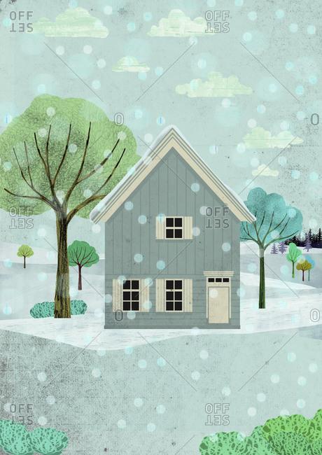 Scandinavian house in winter landscape