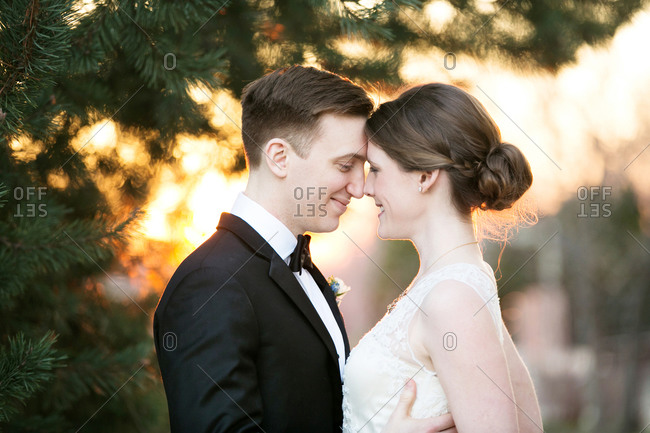 Nose to nose bride and groom standing under pine boughs at sunset