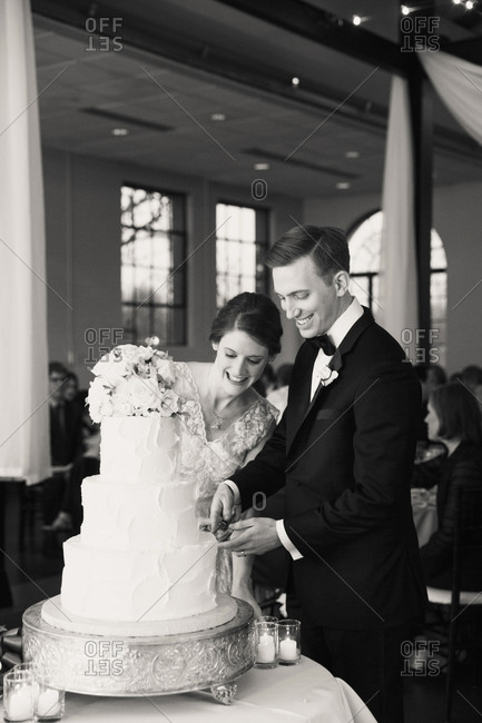 Bride and groom cutting their wedding cake at reception