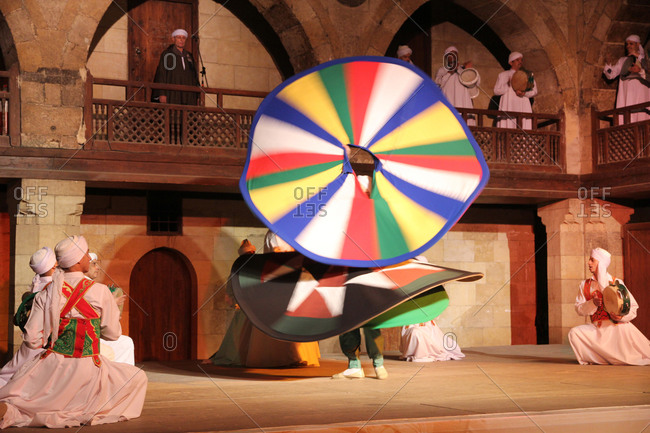 Cairo, Egypt - January 8, 2013: Egyptian Sufi Tanoura Dancer, Colorful Whirling Dervish