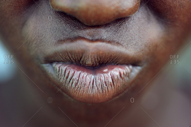 Close-up portrait of mouth and lips